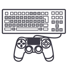 computer game line icon sign vector image