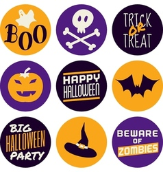 flat design halloween icons in purple and yellow vector image vector image