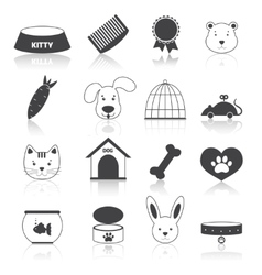 Pets icons set black vector image