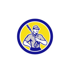 Pressure washer clleaner worker retro circle vector