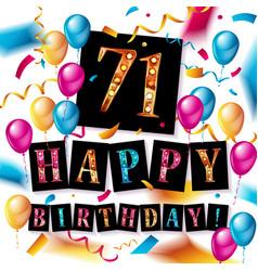 71 years anniversary happy birthday vector