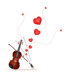 A Beautiful Violin on Playing A Love Music vector image