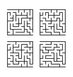 a set of square mazes for children simple flat vector image