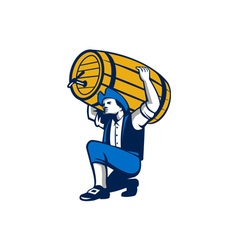 American Patriot Lifting Beer Keg Isolated Retro vector