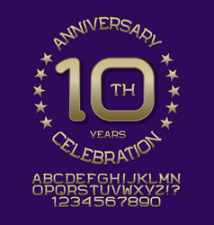 anniversary celebration kit golden letters numbers vector image