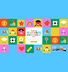 Autism awareness day kid toy mosaic template vector