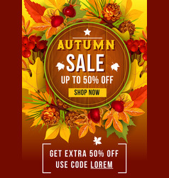 Autumn sale discount poster of leaf fall vector