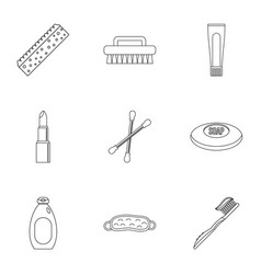 Bathroom things icons set outline style vector