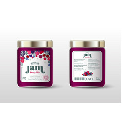Berry mix jam label jar packaging sugar free vector