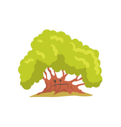 Big oak tree with sad face natural element for vector