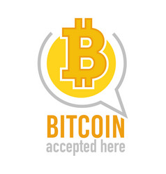 bitcoin accepted here icon denoting virtual vector image