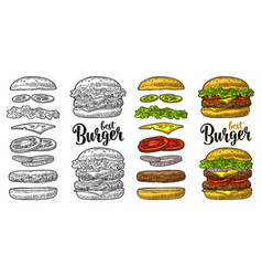 burger with flying ingredients on white background vector image
