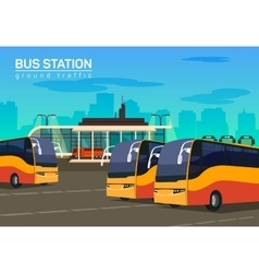 Bus station flat background vector image