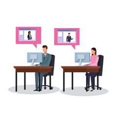 Business workers and social media vector
