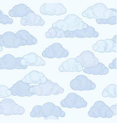 Cloud doodle line pattern cloudy sky seamless vector