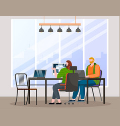 colleagues talking in office employees vector image