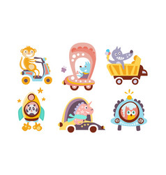 collection toy transport with cute animals vector image