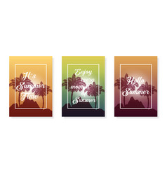 colorful poster set palm summer background vector image