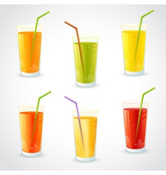 colorful set realistic glasses with juice vector image