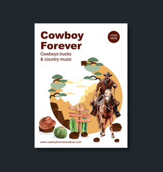 Cowboy poster design with horse cactus sign hat vector