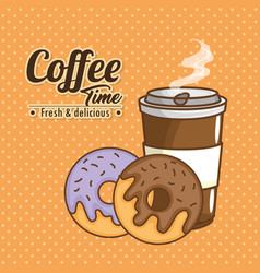 Delicious coffee time elements vector