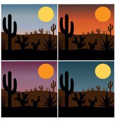 Desert cactus silhouette with gradient sunsets vector