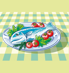 Dish with big fish vector