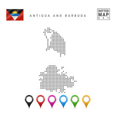 Dotted map antigua and barbuda simple vector