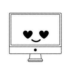 Dotted shape computer screen in love kawaii vector