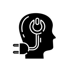 E intellect black icon concept vector