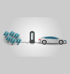 electric car charging at the charger statio using vector image