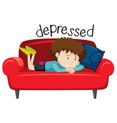 English vocabulary word of depressed vector