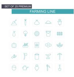 farming line icons set green vector image