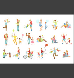 fathers playing with kids set of vector image