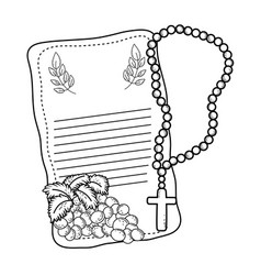 First communion card with rosary vector