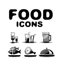 Food black glossy icon set vector image