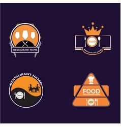 food restaurant logos pack vector image