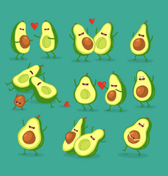 Funny cartoon couples character avocado set vector