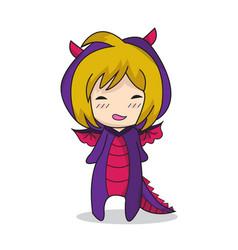 Girl character design dragon vector