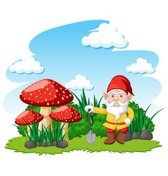 Gnomes standing with mushroom cartoon character vector