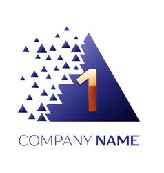 golden number one logo in the blue pixel triangle vector image