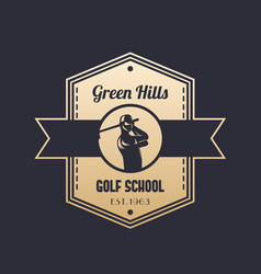 golf school vintage logo emblem with golfer vector image