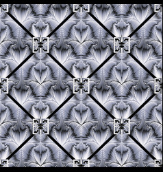 grunge geometric greek 3d seamless pattern vector image