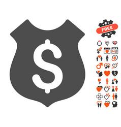 Guard price icon with love bonus vector