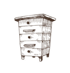 Hand drawn box hive vector