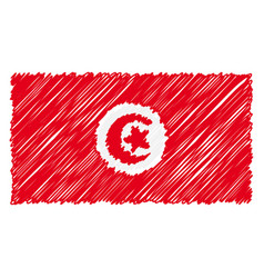 hand drawn national flag of tunisia isolated on a vector image