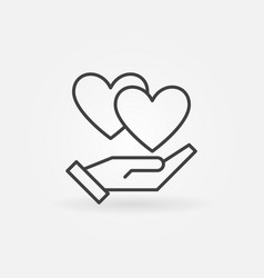 hand with hearts icon in thin line style vector image