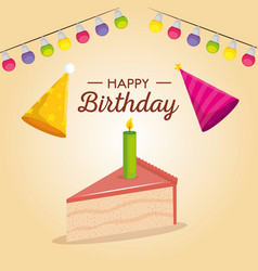 happy birthday celebration card with sweet cake vector image