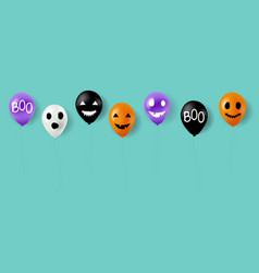 happy halloween balloons with mint background vector image