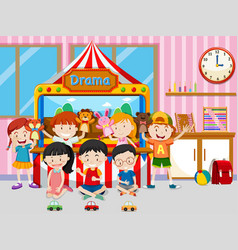 Happy kids playing in classroom vector
